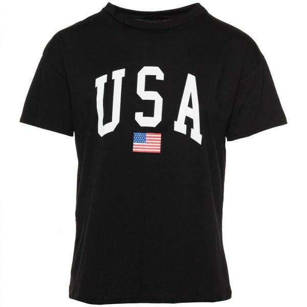 BLACK USA TEE