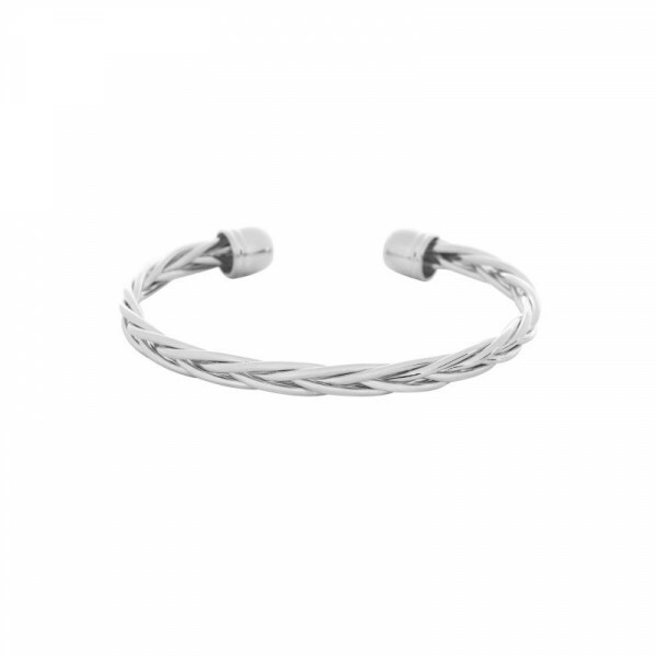 SILVER BRAIDED BANGLE
