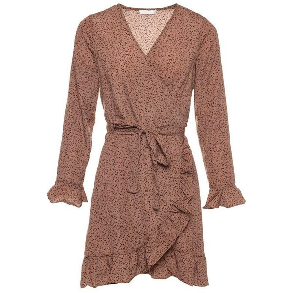 SPECKLED WRAP DRESS BROWN