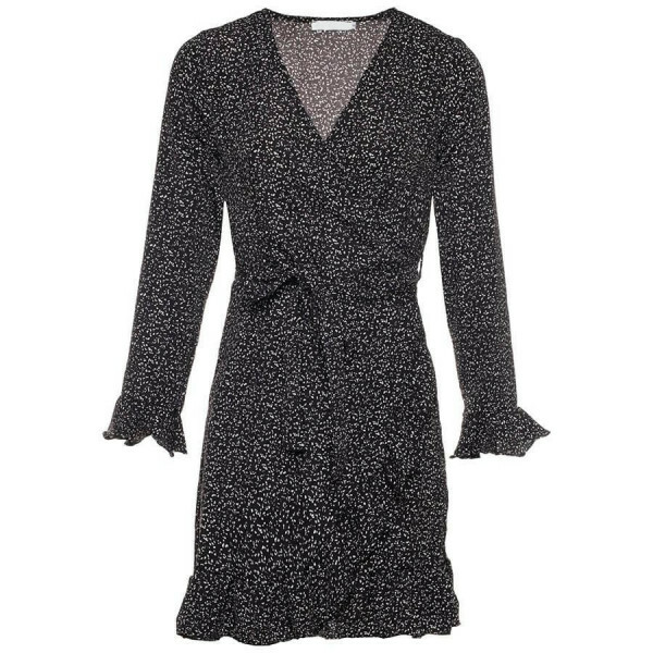 SPECKLED WRAP DRESS BLACK