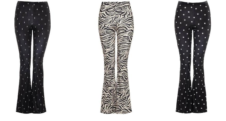 Printed flared broeken