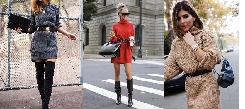 Sweaterdress zwart riem