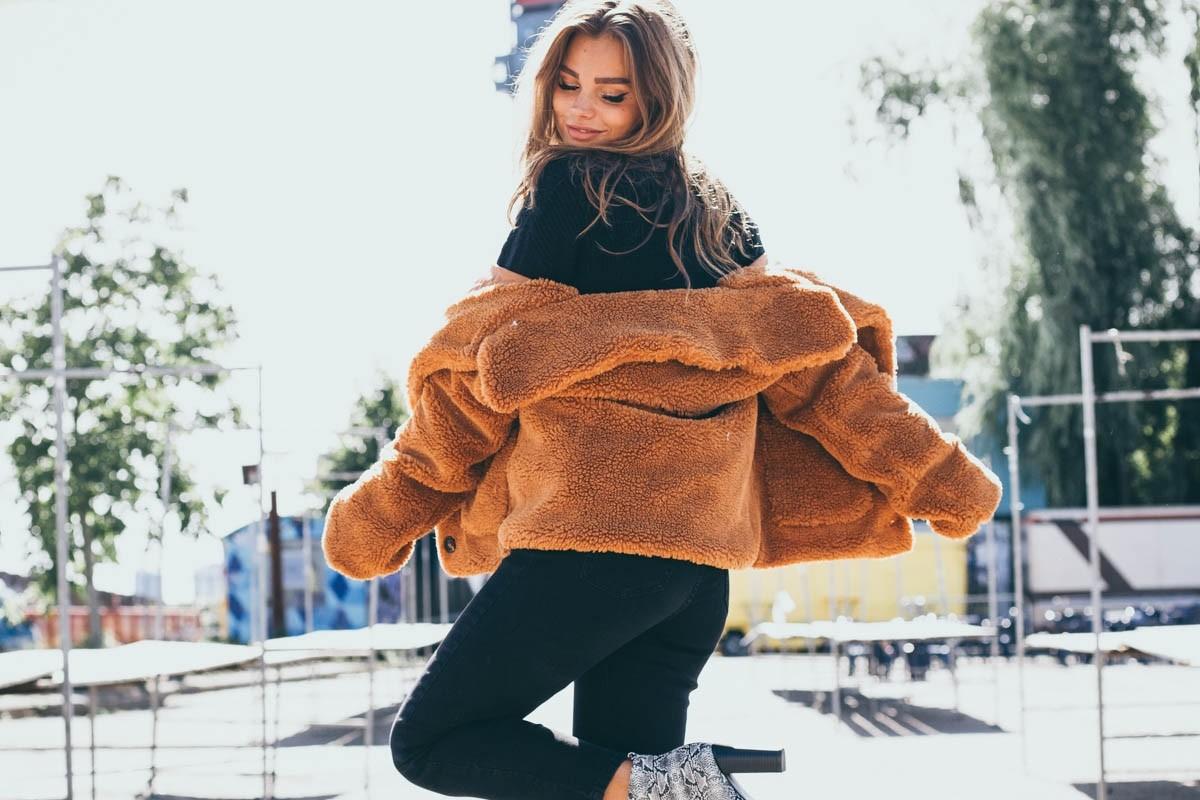 Bruine teddy jas
