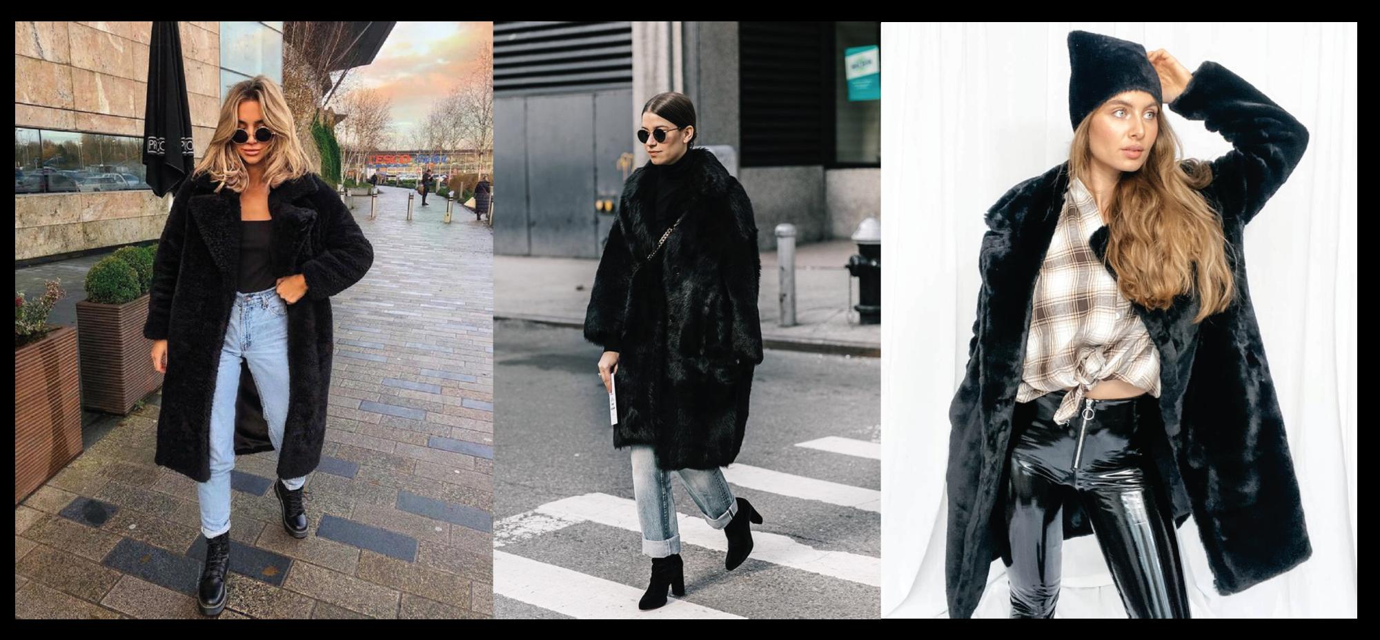 faux fur jas zwart