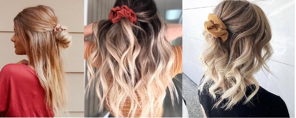 Haarstyle scrunchie half los half vast