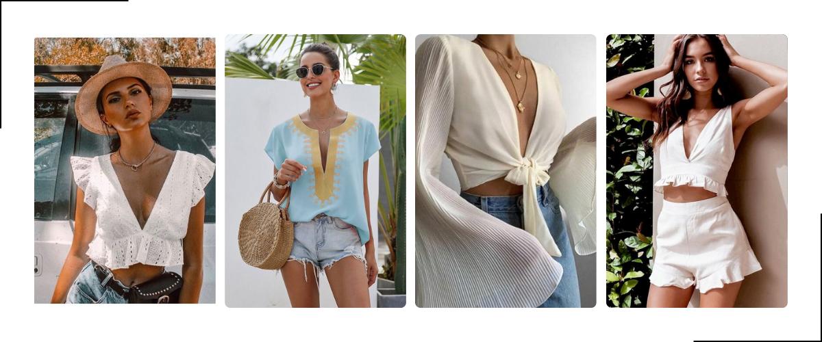 Diepe v-hals shirts voor dames