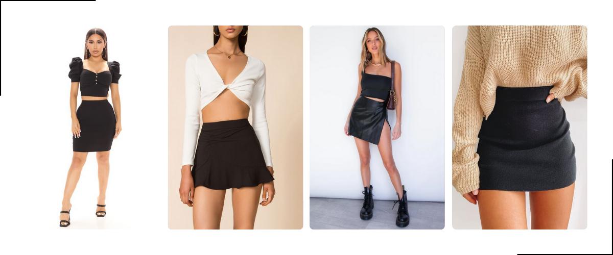 Zwarte mini rok voor dames